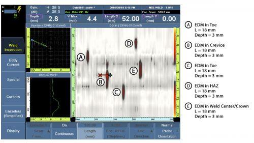 Hình ảnh C-scan quét được sử dụng MagnaFORM với các vết khắc EDM ở các vị trí khác nhau