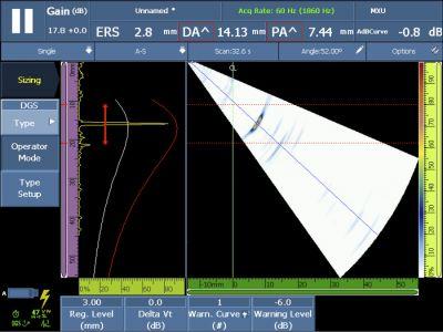 Màn hình hiển thị việc hiệu chuẩn DGS và các tham số để căn chỉnh ở thời gian thực sau khi hoàn thành việc hiệu chuẩn