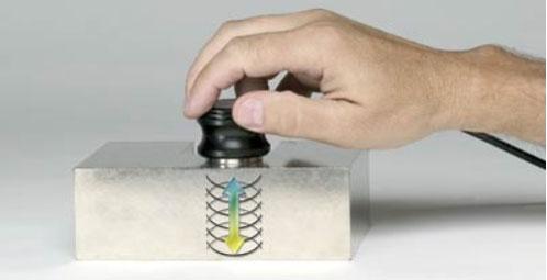 Xung siêu âm do đầu dò tạo ra truyền qua mẫu thử và phản xạ trở lại từ bề mặt bên trong hoặc mặt đối diện