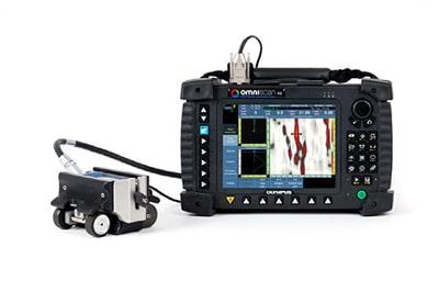 Giải pháp MagnaFORM bao gồm đầu dò, scanner tích hợp bánh xe và cáp dài 5m; phần mềm bù độ nhạy tự động được lưu trữ trên thẻ nhớ và sử dụng với thiết bị OmniScan MXE.