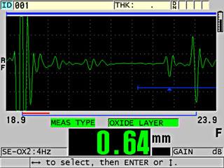 Đo oxit bên trong sử dụng máy đo chiều dày và đầu dò M2017 với miếng nêm trễ