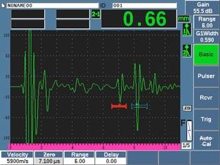 Đo lớp oxit bên trong với máy đo chiều dàyvà đầu dò M2017 với miếng trễ nêm, có thêm tín hiệu từ mặt của miếng trễ.