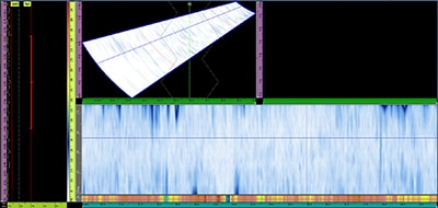 Chế độ hiển thị A-C-S của mối hàn không có khuyết tật, với một kênh kiểm tra được cấu hình ở chế độ xác nhận tiếp âm
