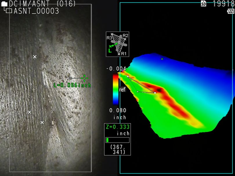 Pipe weld corrosion with RVI